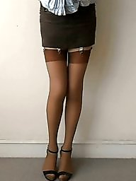 Upskirt, Satin, Miniskirt, Blouse, Upskirt stockings, Satin blouse