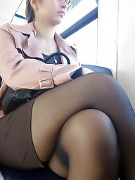 Nylon, Candid, Leg, Train, Legs stockings, Crossed legs