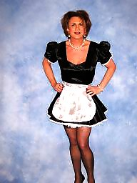 Maid, Satin, Maids, Black stocking, Black amateur