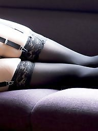 Lingerie, Black stocking, Amateur lingerie