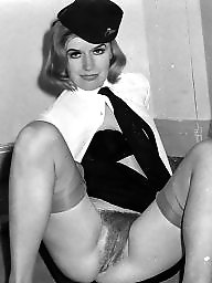 Vintage, Nylon, Nylons, Black hairy, Hairy stockings, White
