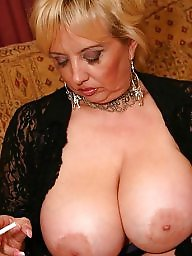 Smoking, Mature femdom, Mature big tits, Mature big boobs, Smoke, Femdom mature
