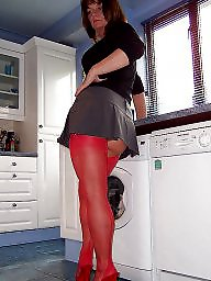 Kitchen, Mature stocking, Mature posing