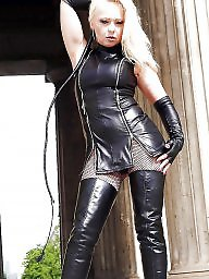 Latex, Leather, Boots, Milf leather, Femdom milf