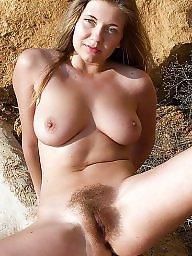 Beach, Mature beach, Bunny, Natural, Natural tits, Mature tits