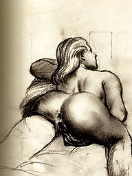 Drawing, Drawings, Draw, Vintage, Erotic, Vintage drawing