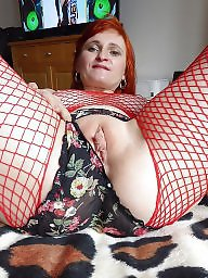 Fishnet, Red, Mature boobs, Hair, Stocking mature, Red hair