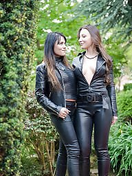 Leather, Threesome, Fuck, Lesbian bdsm, Femdom bdsm, Catsuit
