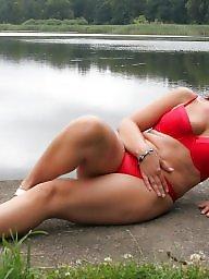 Mature posing, Posing, Lake, Sexy milf