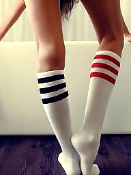 Socks, Sock, Teen stockings, White, Knees