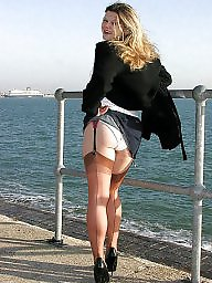 Legs, Outdoors, Upskirt stockings, Show