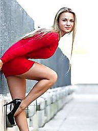 Heels, Upskirt stockings, Voyeur upskirt