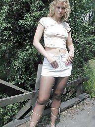Lady, Outdoors, Posing, Public flashing