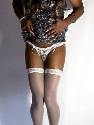 Dress, Sexy dressed, Posing, Ebony stockings