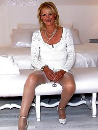 Facial, Satin, Mature facial, Mature stockings, Stockings, White