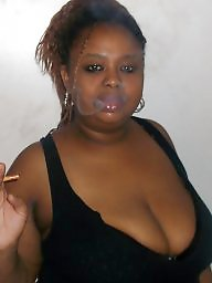 Smoking, Ebony boobs, Ebony amateur