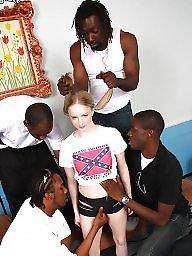 Gangbang, Interracial gangbang, Facials, Interracial blowjob