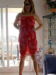 Dressed, Red, Upskirt stockings, Ladies, Walking