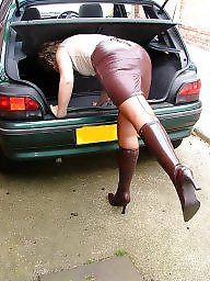 Leather, Stockings, Uk mature, Mature amateur