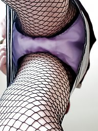 Satin, Fishnet, Upskirt stockings
