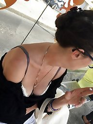 Downblouse, Flashing, Flash, Tits, A bra, Tits flash