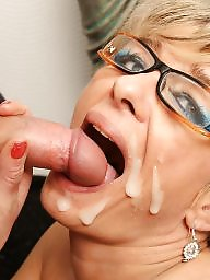 Granny, Facial, Mature facial, Mature blowjob, Facials, Granny blowjob