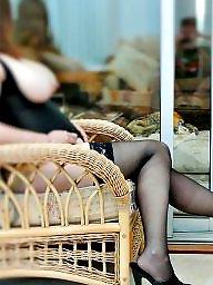 Heels, Brunette milf, Stockings heels