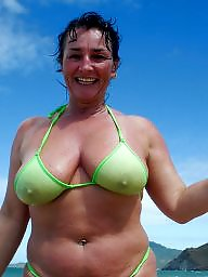 Mature bikini, Bikini, Downblouse, Dress, Underwear, Dressed