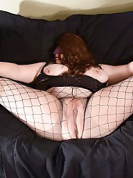 Spreading, Spread, Bbw stockings, Bbw spreading, Redhead, Bbw spread