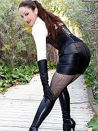 Leather, Skirt, Upskirts, Milf upskirt, Upskirt milf, Leather skirt