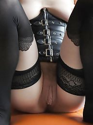 Leather, Pussy, Milf leather, Stockings pussy, Show pussy, Stocking milf