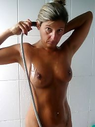 Shower, Big boobs mature, Mature shower