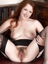 Spreading, British, Spread, Redhead, Hairy pussy, Hairy spreading