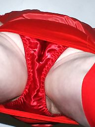 Upskirt, Satin, Red, Amateur stocking