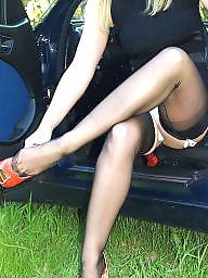 Car, Cars, Lady, Nylon upskirt