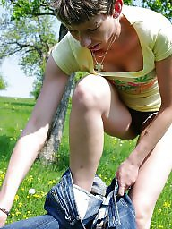 Outdoor, Outdoors, German milf, German amateur