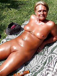 Wives, Sunbathing, Public mature, Mature wives