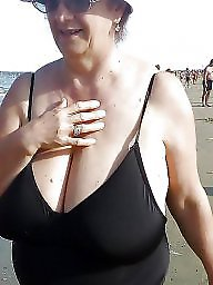 Granny, Beach, Granny beach, Granny boobs, Big granny, Amateur granny