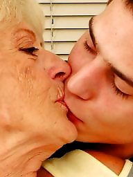 Old granny, Old grannies, Old mature, Mature young, Kiss, Kissing