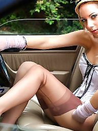 Nylon, Car, Nylons, Vintage nylon, Cars, Upskirt stockings