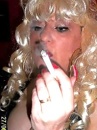 Smoking, Smoke, Blonde milf, Nails, Blonde