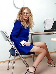 Office, Upskirt, Blue, Upskirt stockings