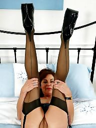 Stockings, British mature, British, Old mature, Stocking mature, Old milf