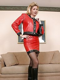 Latex, Leather, Milf upskirt, Milf in leather