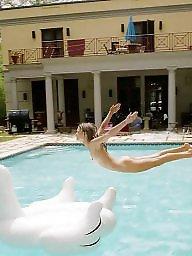 Pool, Mature boobs, Mature big boobs, Mature pool, Backyard