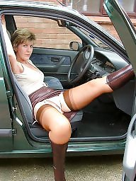 Leather, Mature leather, Stockings, Uk mature