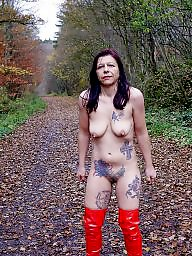 Public, Red, Public slut, Nudity, Amateur public