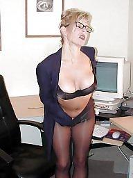 Glasses, Lady, Glass, Upskirt stockings