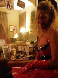 Pvc, Dress, Red, Milf, Amateur milf, Lipstick