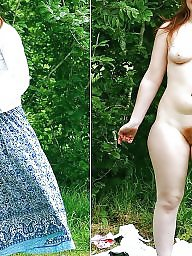 Outdoor, Dressed undressed, Dress undress, Female, Hairy amateur, Undressed